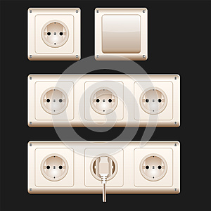 Electric sockets, switch and cords. Vector illustration, eps10. White switches and sockets set.