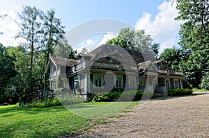 Poland, Bialowieza Palace Park. Old wooden, historic hunters manor house. Oldest building in Bialowieza.