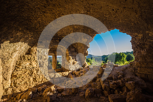 A window in the ruins of an old Arab house