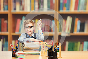 School Child Student Pointing Up, Kid Boy Classroom Education