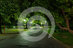 Park with street lights in Piestany Slovakia in night with no