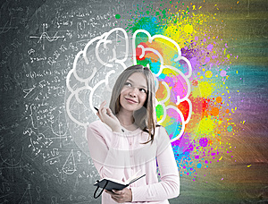 Woman with a planner, colorful brain sketch