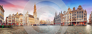 Brussels, panorama of Grand Place in beautiful summer day, Belgi