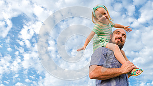 Adorable father daughter portrait, happy family, father`s day