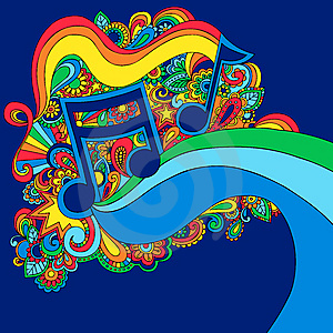 Psychedelic music note vector illustration cover photo for Trippy house music
