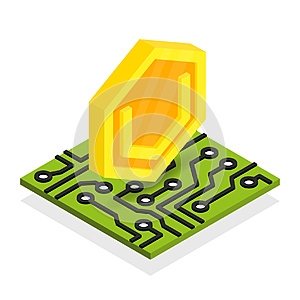 Ultimate secure cash cryptocurrency isometric isolated