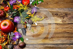 Happy Thanksgiving decor with squash seeds on wooden background