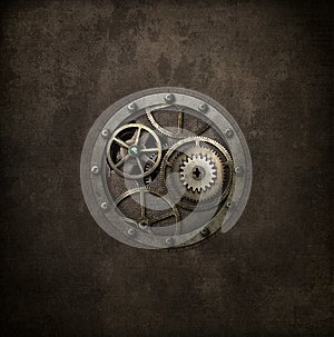 Steampunk machinery in circle