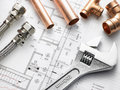 Plumbing Equipment On House Plans Royalty Free Stock Photo - 10003275