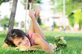 Young Woman In Green Park, Book And Reading Royalty Free Stock Photo - 10017625