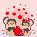 Valentine Card With Lovers Monkeys Stock Photo - 100123020