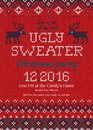 Ugly Sweater Christmas Party Invite. Knitted Background Pattern Scandinavian Ornaments. Royalty Free Stock Image - 100126116