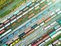 Aerial Shoot Of Railway Tracks With Lots Of Wagons Royalty Free Stock Images - 100174929