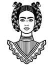 Animation Portrait Of The Young Beautiful Mexican Woman With A Traditional Hairstyle. Stock Photos - 100189343