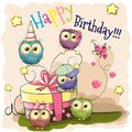 Greeting Card Cute Five Owls Stock Photo - 100190980