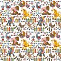 Cartoon Farm Animals Seamless Pattern. Stock Photo - 100195900