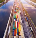 Aerial View On Cargo Containers In Harbour. Royalty Free Stock Photography - 100211297