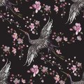Embroidery Oriental Seamless Pattern With Cranes And Cherry Blossom. Stock Photos - 100227563
