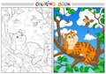 Coloring Cartoon Cat On A Branch And Birds In The Sky. Royalty Free Stock Photos - 100245008