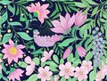 Seamless Pattern, Background With Spring  Flowers Magnolia,  Sak Royalty Free Stock Photo - 100245805