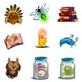 Halloween Symbols - Owl, Mask, Insect, Book Of Spells, Formalin Mutant, Candle. Vector Icons Set Isolated On White Stock Images - 100389964