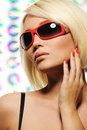 Beauty Blond Woman In Red Fashion Sunglasses Royalty Free Stock Image - 10043906