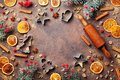 Holiday Food Background For Baking Gingerbread Cookies With Cutters, Rolling Pin And Spices On Table Top View.Christmas Recipe. Royalty Free Stock Photo - 100516795