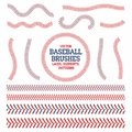 Baseball Laces Set. Baseball Seam Brushes. Red And Blue Stitches  Royalty Free Stock Images - 100523309