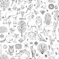 Vector Doodles Woodland Seamless Pattern. Royalty Free Stock Photos - 100587918