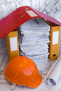 Orange Helmet And Project Drawings Royalty Free Stock Photos - 10069498