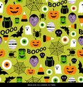 Seamless Pattern Of Various Cute Halloween Icons Royalty Free Stock Photos - 100618408