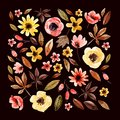 Watercolor Floral Elements Square Arranged On Dark Background. Stock Photos - 100638403