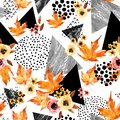 Hand Drawn Falling Leaf, Doodle, Water Color, Scribble Textures For Fall Design. Royalty Free Stock Photo - 100638705