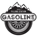 Monochrome Vector Template For Gas Station With Wheel And Mountains Royalty Free Stock Photo - 100664695
