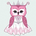 Vector Illustration Of A Beautiful Retro Bride Of An Owl Pink In A White Lace Dress With A Crown And A Necklace Of Rhinestones. Stock Photos - 100665993