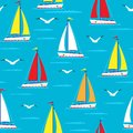 Ship Sailing Boat Sea Seamless Pattern Vessel Travel Vector Sailboats Marine Background. Stock Photo - 100794330