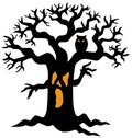 Spooky Tree Silhouette Stock Photography - 10086082