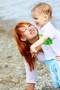 Mother And Son On Beach Royalty Free Stock Image - 10088856
