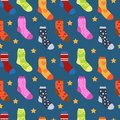 Winter Socks With Different Prints Seamless Pattern. Christmas Sock Repeating Texture. Endless Background. Vector Stock Photos - 100802803