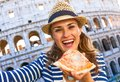 Tourist Woman In Rome, Italy With Pizza Slice Taking Selfie Stock Photo - 100812240
