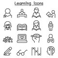 Study, Learning, Education Icon Set In Thin Line Style Royalty Free Stock Photo - 100861525
