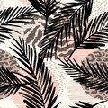 Abstract Seamless Pattern With Animal Print, Tropical Plants And Geometric Shapes. Stock Images - 100889004