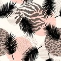 Abstract Seamless Pattern With Animal Print, Tropical Plants And Geometric Shapes. Stock Photos - 100889043
