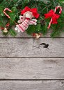Christmas Decoration, Ornaments And Garland Frame Background Royalty Free Stock Photography - 100972647