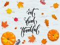 Happy Thanksgiving Holiday Autumn Fall Vector Pumpkin Calligraphy Leaf Greeting Card Royalty Free Stock Photography - 101032957