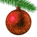 Realistic Red Christmas Ball Or Bauble With Glitter Sparkles And Fir Branch Isolated On White Background. Vector Illustration Royalty Free Stock Photography - 101035557
