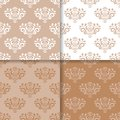 Wallpaper Set Of Brown Beige Seamless Patterns With Floral Ornaments Stock Image - 101037651