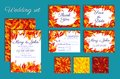 Set Of Wedding Invitations With Autumn Leaves Royalty Free Stock Photo - 101046715
