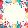 Watercolor Christmas Square Frame. New Year Ornament With Bow, Candy, Sock, Moon, Star, Mitten. For Design, Print Or Background Royalty Free Stock Photo - 101050675