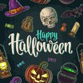 Seamless Pattern For Halloween Party. Vintage Color Engraving Royalty Free Stock Photos - 101120908